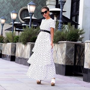 Dresses & Skirts - Layered Ruffle Hem Polka Dot Dress
